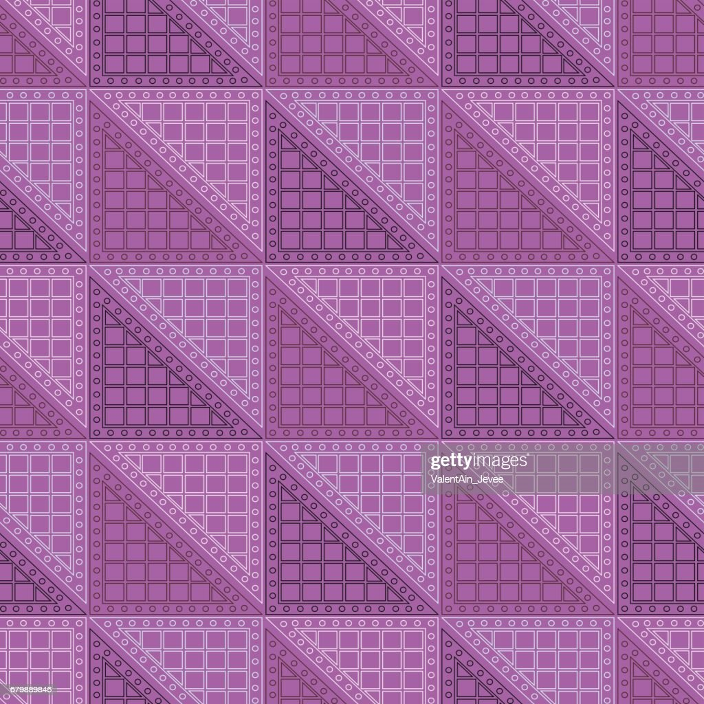 Seamless vector pattern. Symmetrical geometric violet background with triangles. Decorative repeating ornament.