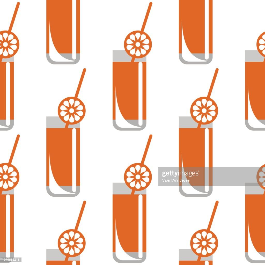Seamless vector pattern with closeup glasses with juice and oranges on the white background. Series of Food and Drink Seamless Patterns.
