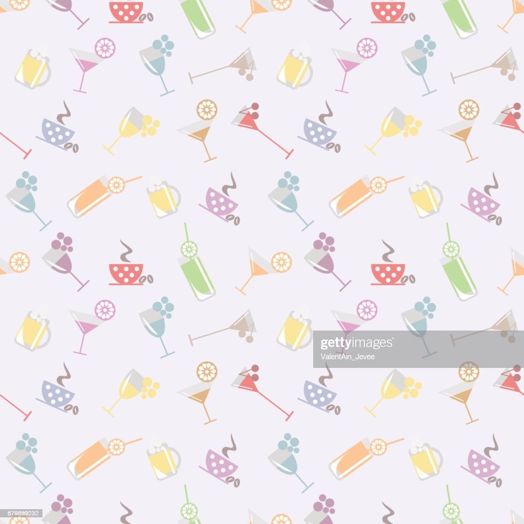 Seamless vector pattern with cocktail with glasses with wine, beer, juice and fruits on the light background. Series of Food and Drink Seamless Patterns.