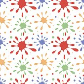 Seamless vector pattern with colorful blots on the white background.
