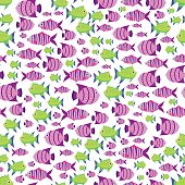 Seamless vector pattern with cute cartoon fish in pink and green color