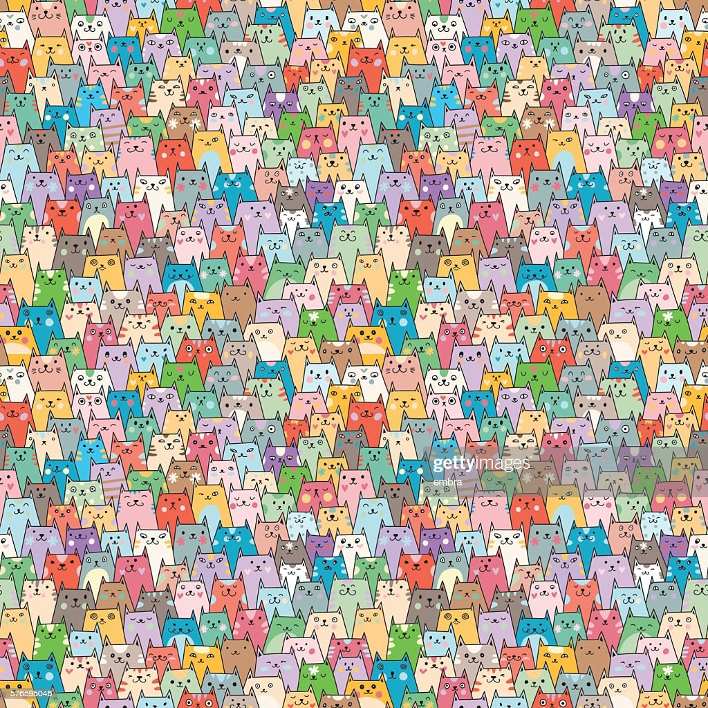 Seamless vector pattern with cute cats