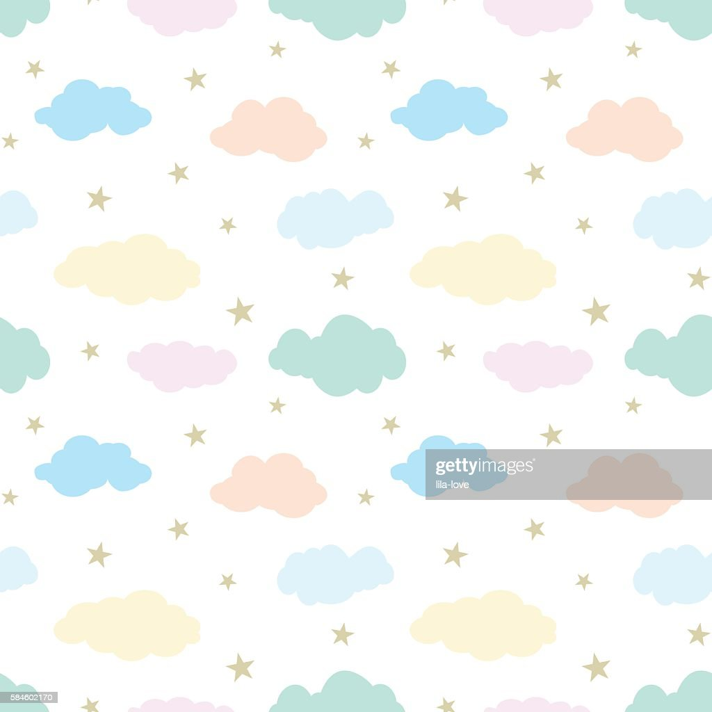 Seamless vector pattern with cute clouds and stars