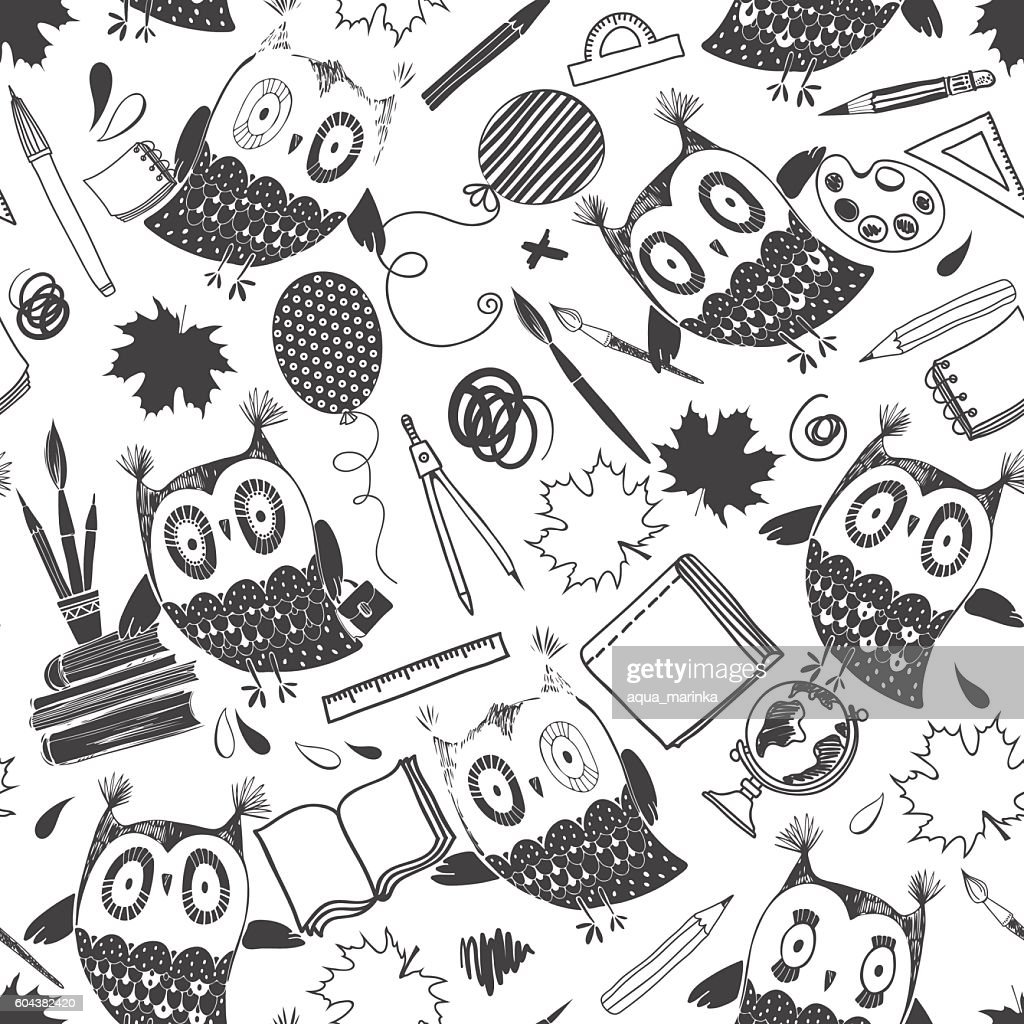 Seamless vector pattern with cute owls and school supplies.