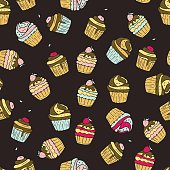 Seamless vector pattern with doodle sweet cupcakes with berries. Color illustration of cute desserts.