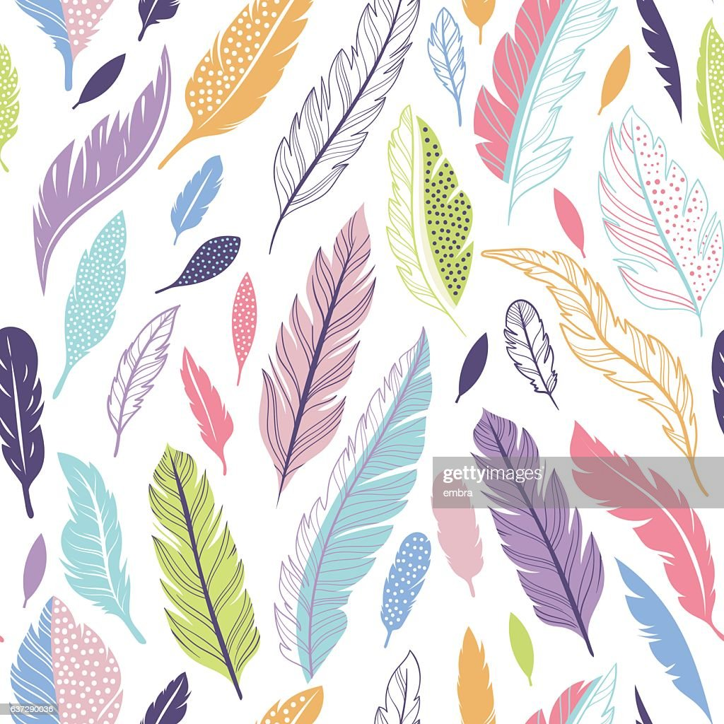 Seamless vector pattern with feathers