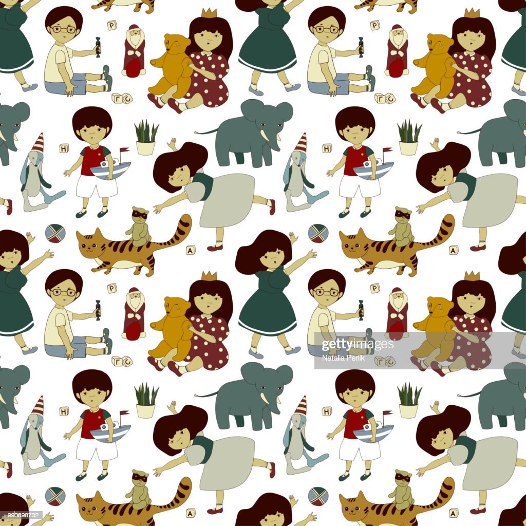 seamless vector pattern with funny playing boys and girls