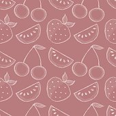 Seamless vector pattern with hand drawn fruits. Background with watermelons, srawberries and cherries. Series of Cartoon, Doodle, Sketch and Hand drawn Seamless Patterns.