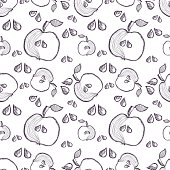 Seamless vector pattern with hand drawn fruits. Background with apples. Series of Cartoon, Doodle, Sketch and Hand drawn Seamless Patterns.