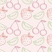 Seamless vector pattern with hand drawn fruits. Colorful Background with watermelons, srawberries and cherries. Series of Cartoon, Doodle, Sketch and Hand drawn Seamless Patterns.