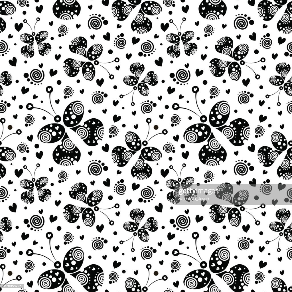 Seamless vector pattern with insects, background with black decorative ornamental beautiful butterflies on the white backdrop. Decorative repeating ornament. Series of Insects Seamless Patterns.