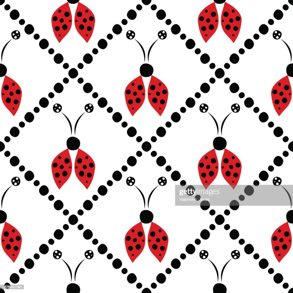 Seamless vector pattern with insects, symmetrical  background with red hand drawn decorative ladybugs on the white backdrop with rhombus. Series of Insects Seamless Patterns.