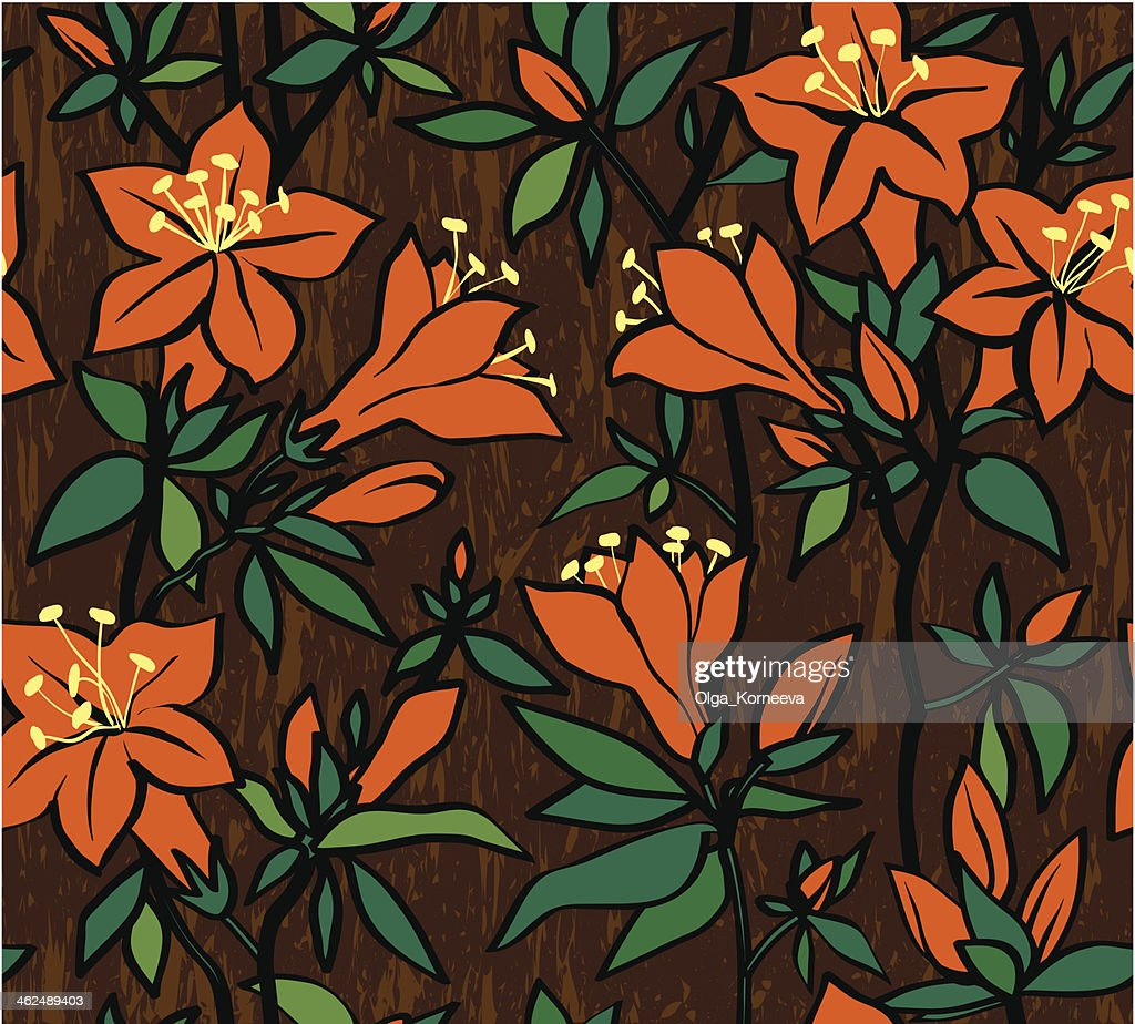 Seamless vector pattern with orange flowers of an azalea