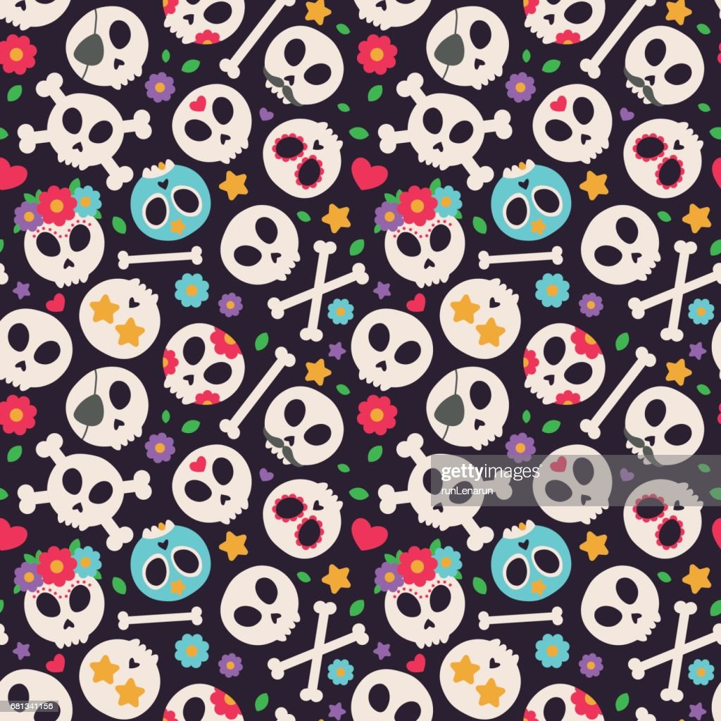 Seamless vector pattern with skulls