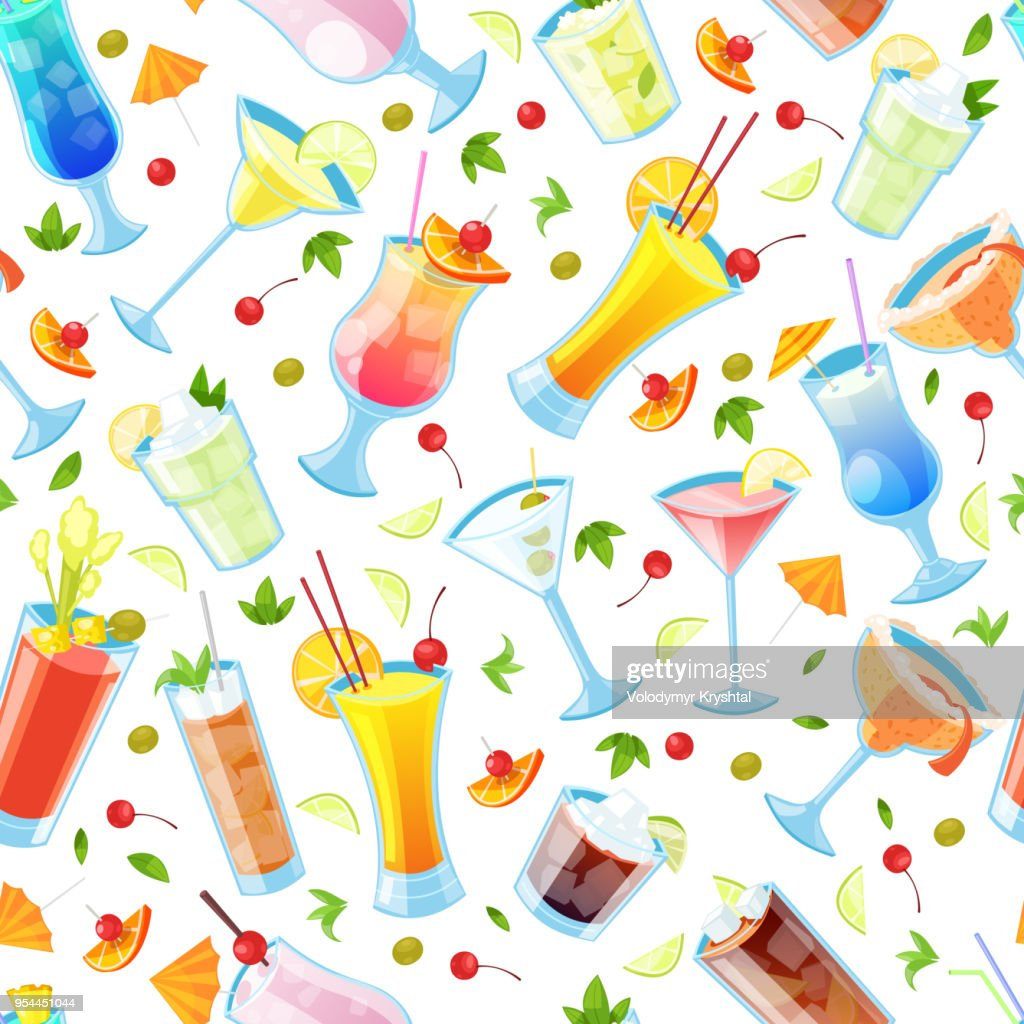 Seamless vector pattern with tropical alcohol cocktails. Beverages and drinks bar, restaurant white background