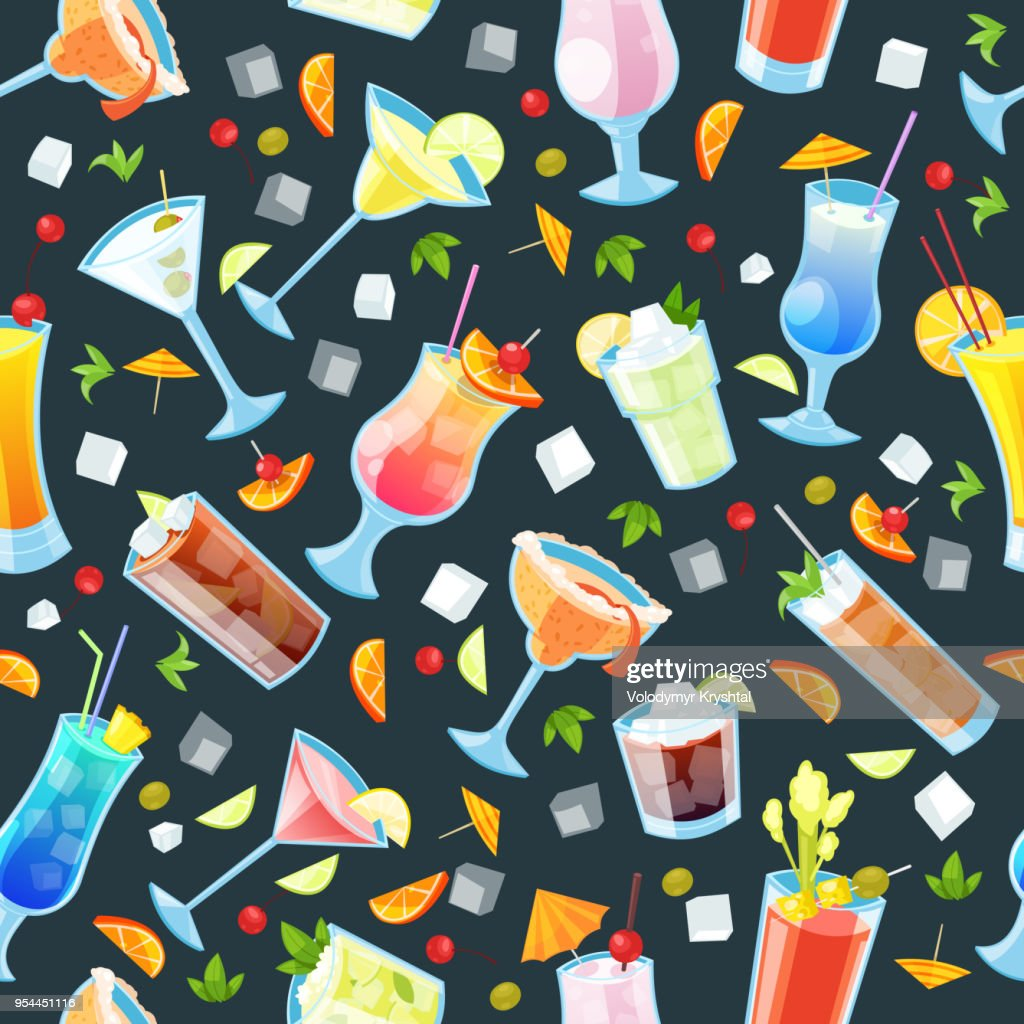 Seamless vector pattern with tropical alcohol cocktails. Beverages and drinks bar, restaurant black background