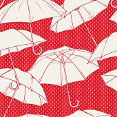 Seamless vector pattern with umbrellas