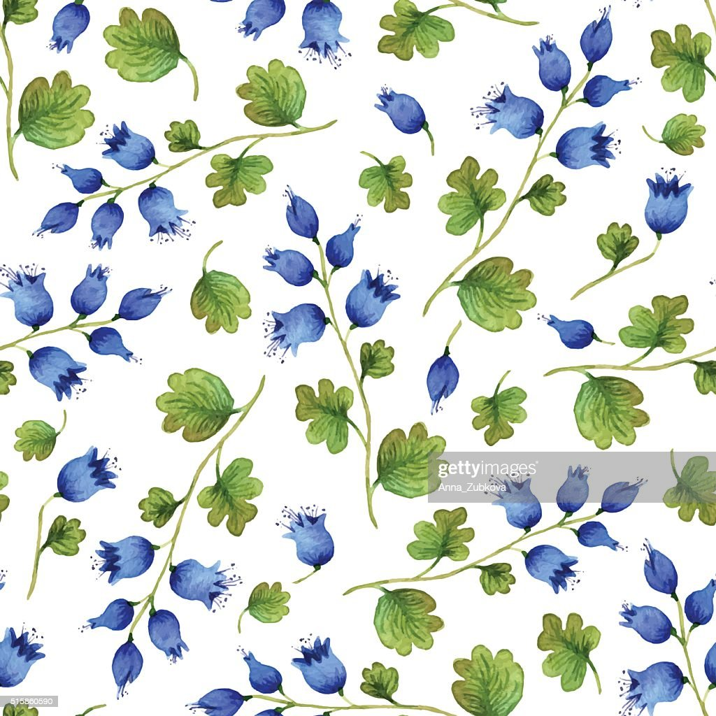 Seamless vector pattern with watercolor blue bell-flowers.