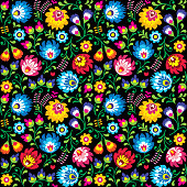 Seamless vector Polish folk art floral pattern - Wzory Lowickie, Wycinanki on black background