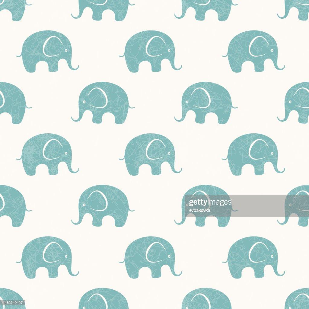 Seamless vector print with cute little elephants