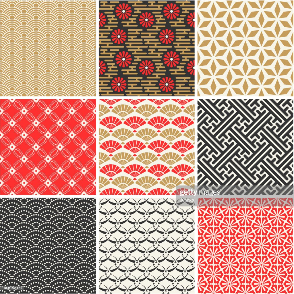 Seamless vector set of Japanese patterns