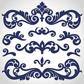 Seamless vector set of Victorian style ornament