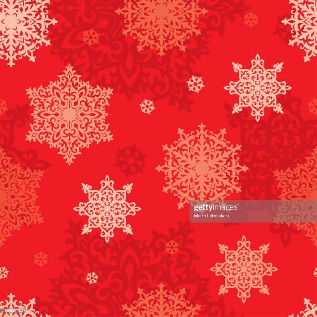 Nahtloser Vektor Schneeflocken Hintergrund Happy New Year Oder ...