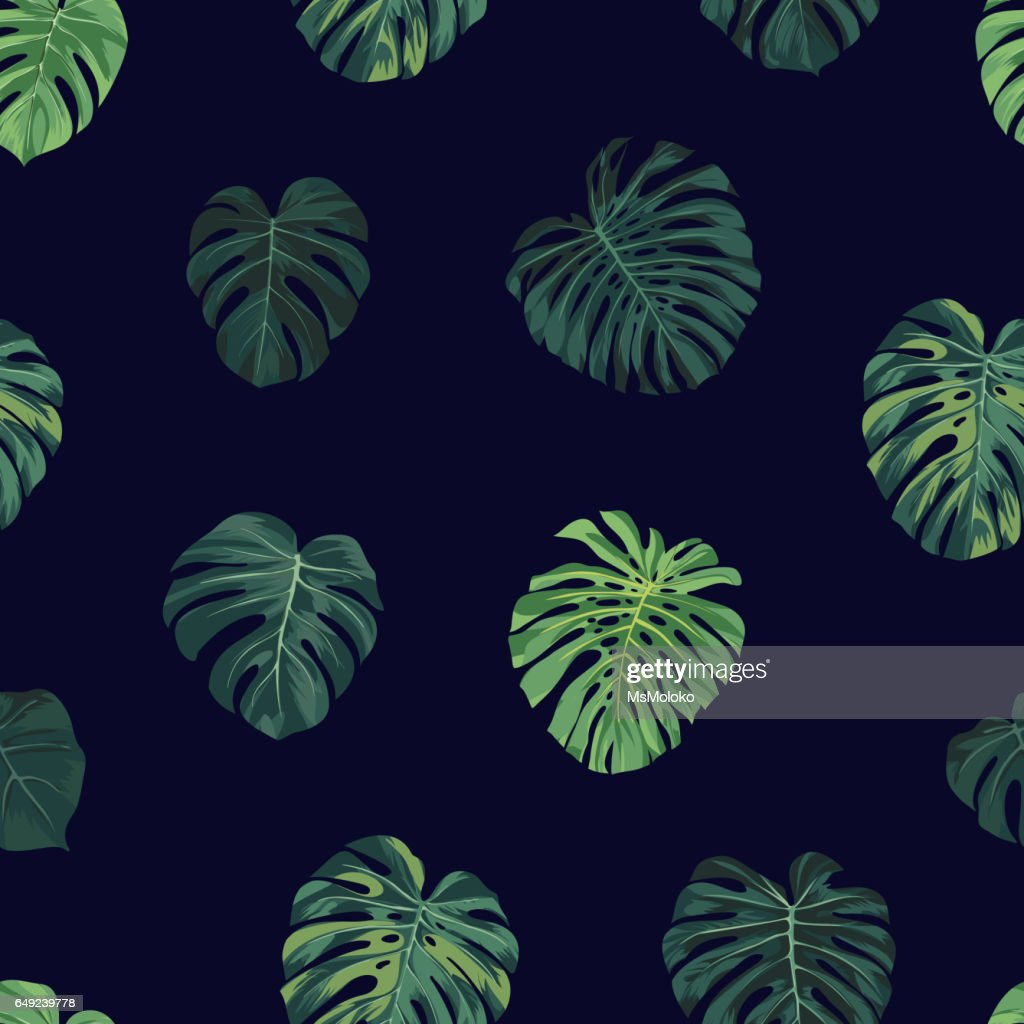 Seamless vector tropical botanical pattern with green monstera palm leaves. Exotic hawaiian fabric design