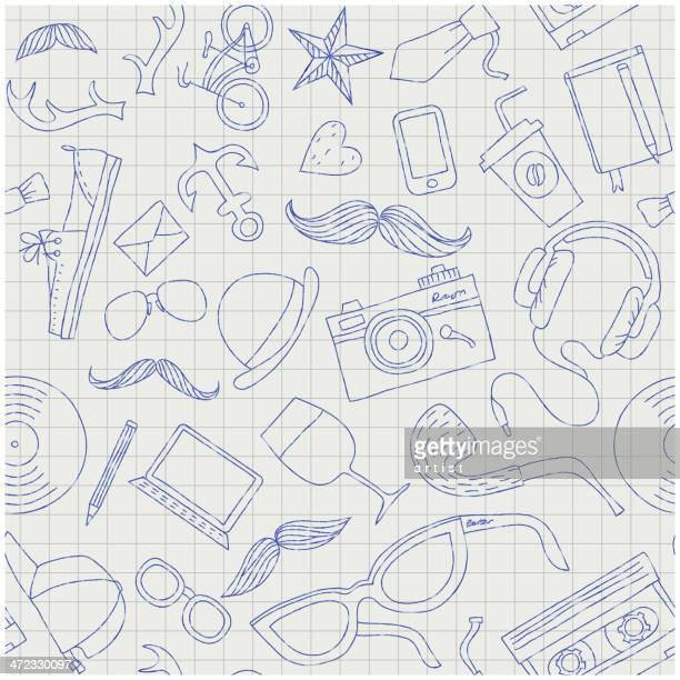 nahtloser vektor mit hand drawn hipster-geräte - ausgemalte federzeichnung stock-grafiken, -clipart, -cartoons und -symbole