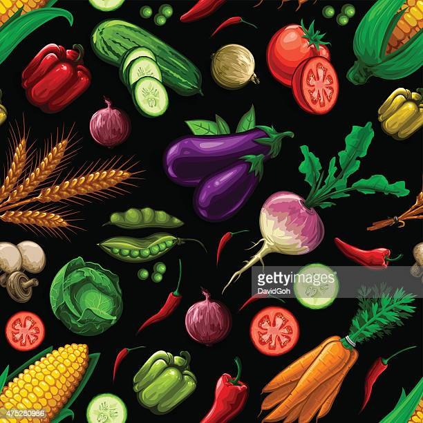 seamless vegetable pattern - onion stock illustrations, clip art, cartoons, & icons