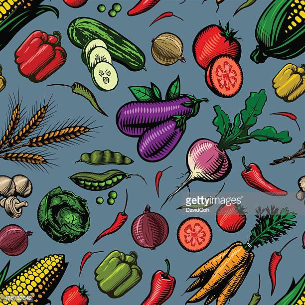 seamless vegetable pattern - pepper vegetable stock illustrations