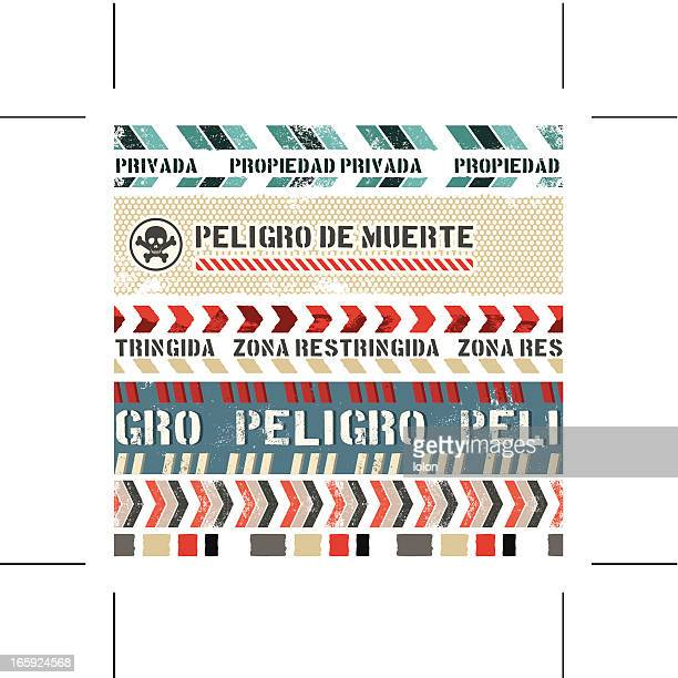 seamless vintage banners (spanish) - private property stock illustrations