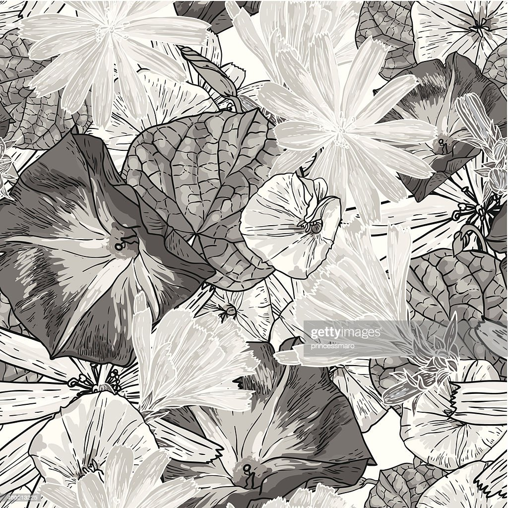 Seamless Vintage Black And White Floral Background High Res Vector