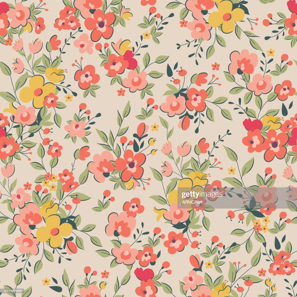 Seamless Vintage Floral Background High Res Vector Graphic Getty