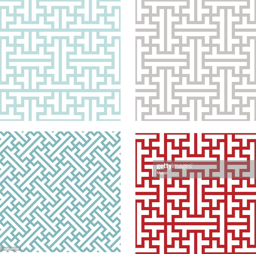 Seamless vintage geometric puzzle pattern