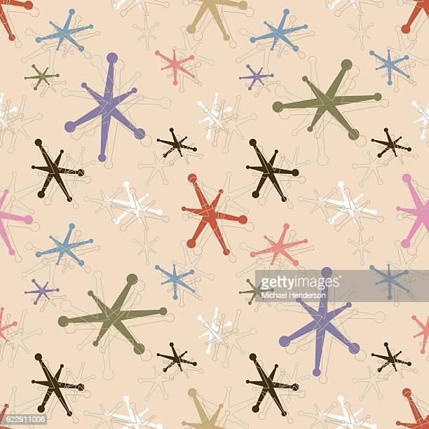 シームレスヴィンテージジャックパターンの背景 - キッチュ点のイラスト素材/クリップアート素材/マンガ素材/アイコン素材