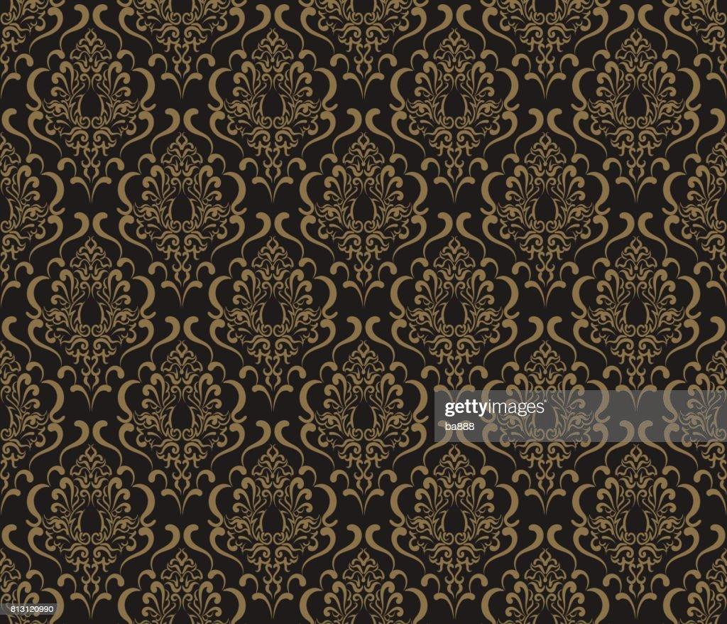 Seamless Wallpaper Damask Retro
