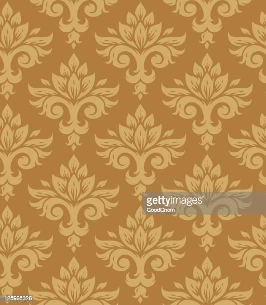 seamless wallpaper pattern - brocade stock illustrations