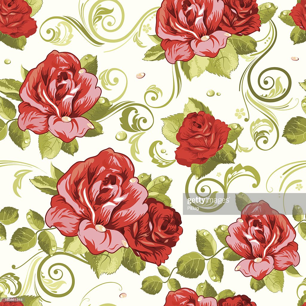 Seamless Wallpaper Pattern With Of Collection Red Roses Isolated Vector Art