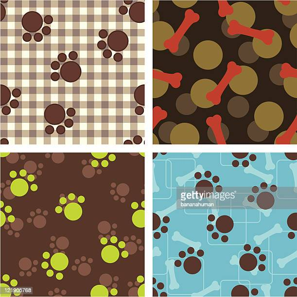 seamless wallpaper - dog food stock illustrations, clip art, cartoons, & icons