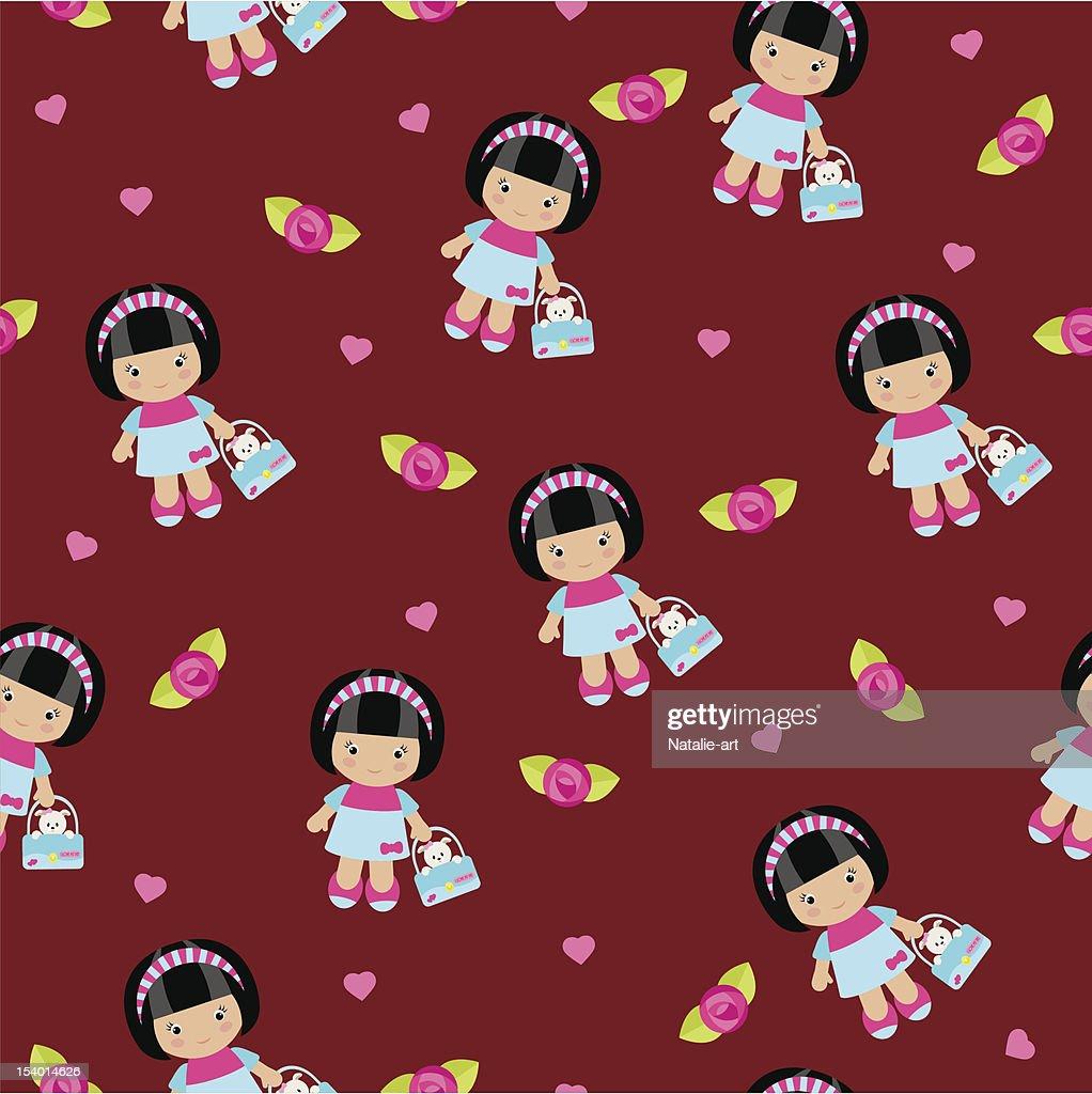 Seamless wallpaper with cute little girl