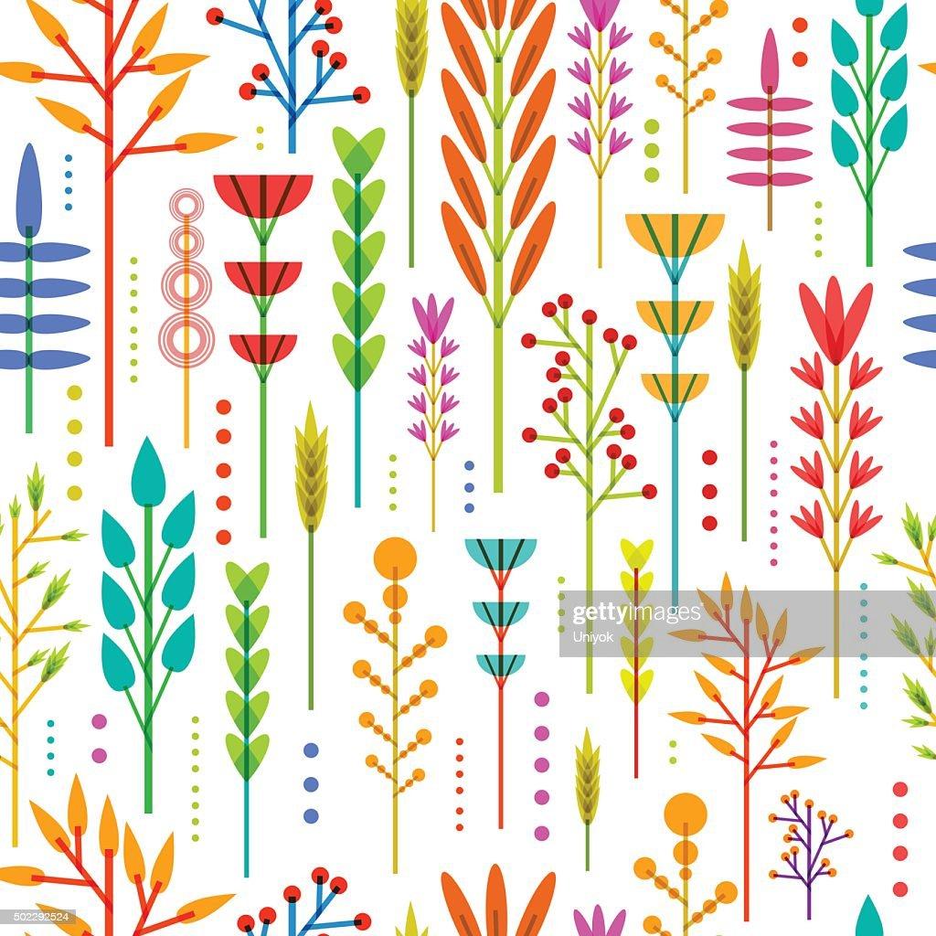 Seamless wallpaper with pattern of geometric flowers in Scandinavian style.