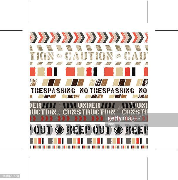 seamless warning banners - private property stock illustrations