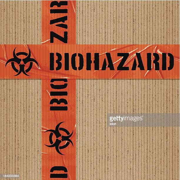 seamless warning biohazard tape tile on cardboard