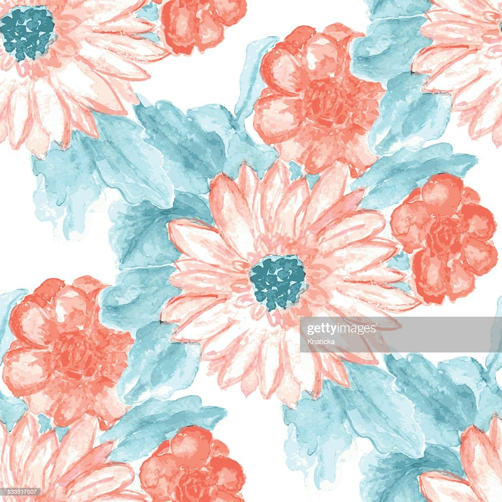 Seamless Watercolor Background Floral Pattern High Res Vector