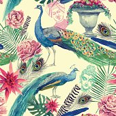 Seamless watercolor pattern with peacocks. Hand drawn vector.