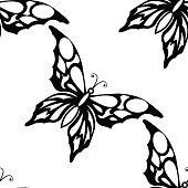 Seamless white background with black butterflies