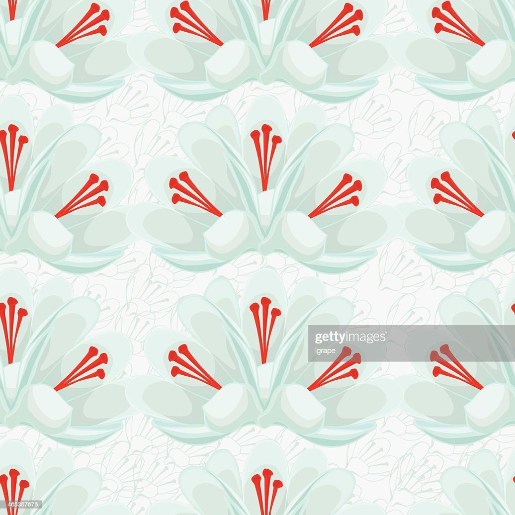 seamless white background with white crocuses.saffron .seamless pattern.