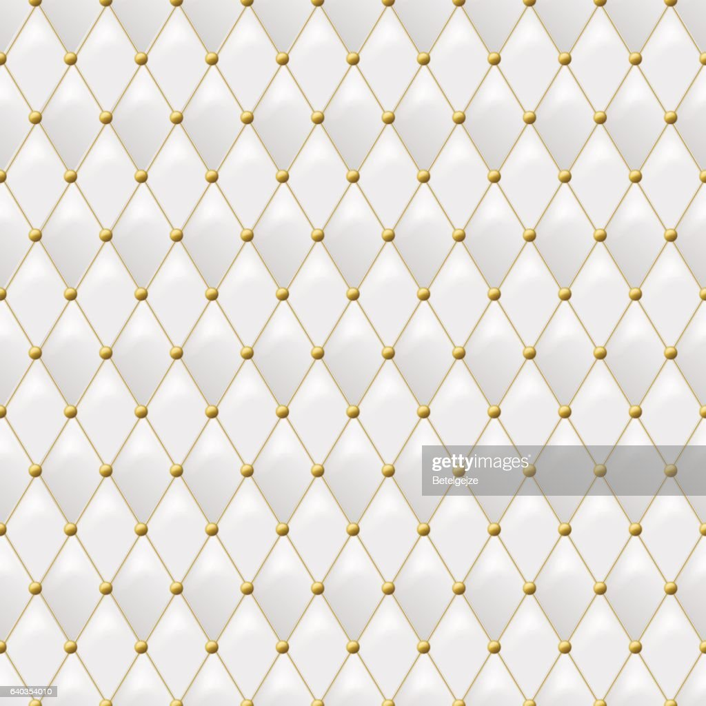 Elegant Seamless White Leather Texture With Gold Metal Details Vector Background Vectorkunst