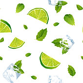 Seamless white pattern, mojito with Ice cubes